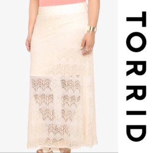 Torrid Lace Overlay Ivory Stretch Maxi Skirt Sz 1